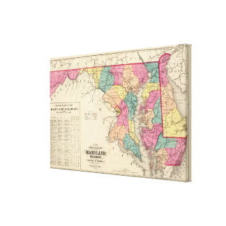 New railroad map of the states of Maryland Canvas Print