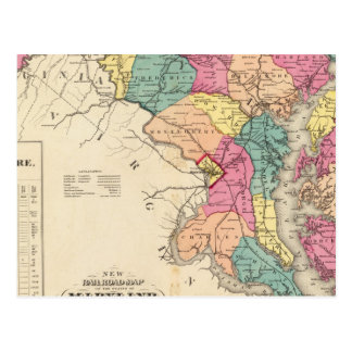 New railroad map of the states of Maryland Postcard