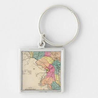 New railroad map of the states of Maryland Silver-Colored Square Key Ring
