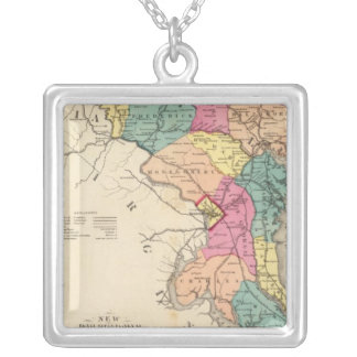 New railroad map of the states of Maryland Silver Plated Necklace