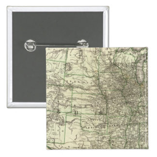 New railroad map of the United States 2 15 Cm Square Badge