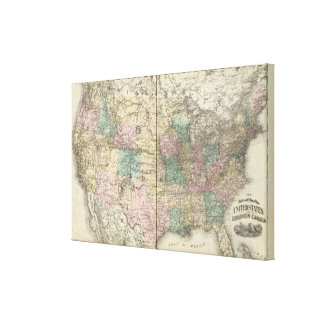 New railroad map of the United States 2 Canvas Print