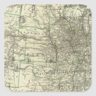New railroad map of the United States 2 Square Sticker