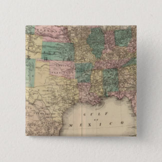 New railroad map of the United States 3 15 Cm Square Badge