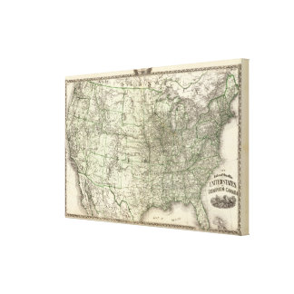 New railroad map of the United States 3 Canvas Print