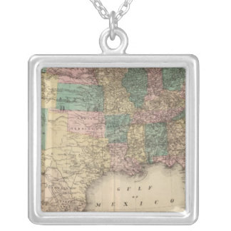 New railroad map of the United States 3 Silver Plated Necklace