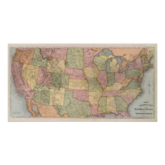 New Railroad Map of the United States Poster