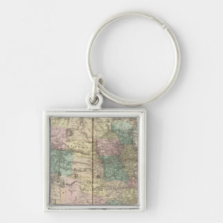 New railroad map of the United States Silver-Colored Square Key Ring