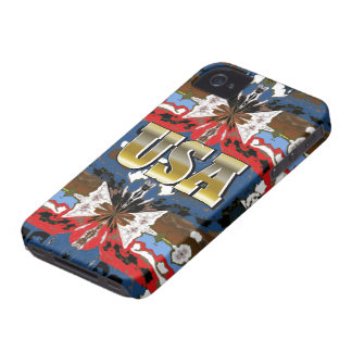 New Red Blue & Gold USA iPhone Case Gift iPhone 4 Covers