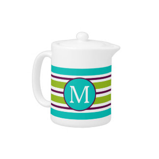 New Retro Blue Green Purple Stripes Monogram