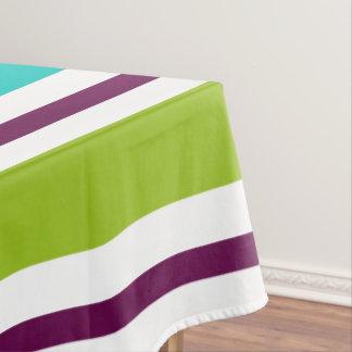 New Retro Blue Green Purple Stripes Tablecloth