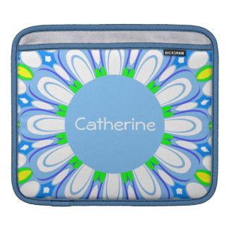 New Retro Blue & White Monogram iPad Sleeve Case