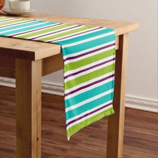 New Retro Green Blue Purple Stripes Short Table Runner