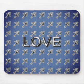 NEW- Roses-Retro-Silk-Night-Blue(c)Silver-Love Mouse Mat