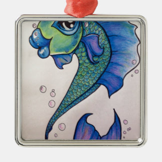 New school angel fishimage.jpg Silver-Colored square decoration