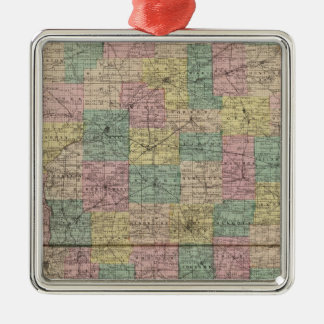 New sectional and township map of Indiana Christmas Ornament