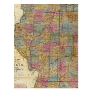 New sectional map of the state of Illinois 2 Postcard
