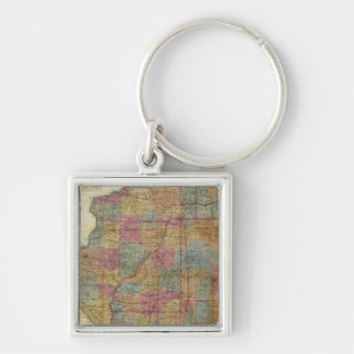 New sectional map of the state of Illinois 2 Silver-Colored Square Key Ring