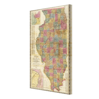 New sectional map of the state of Illinois Canvas Print