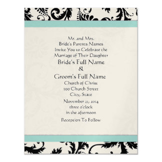 "New Sizes Black Damask Swirls Wedding Invitation 4.25"" X 5.5"" Invitation Card"