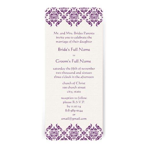 Radiant Purple Damask Swirls Wedding Invitation