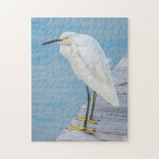 New Smyrna Beach, Snowy Egret on dock Jigsaw Puzzle