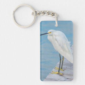 New Smyrna Beach, Snowy Egret on dock Key Ring