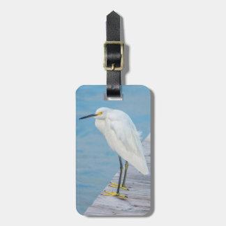 New Smyrna Beach, Snowy Egret on dock Luggage Tag