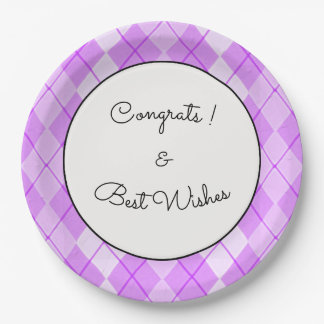 NEW-Spring-Beauty-Argyle-Pink-Congrats_TEMPLATE 9 Inch Paper Plate