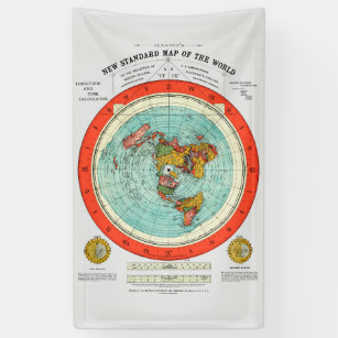 New Standard Map of the World Flat Earth Earther Banner