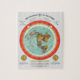 New Standard Map of the World Flat Earth Earther Jigsaw Puzzle
