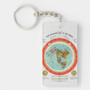 New Standard Map of the World Flat Earth Earther Key Ring