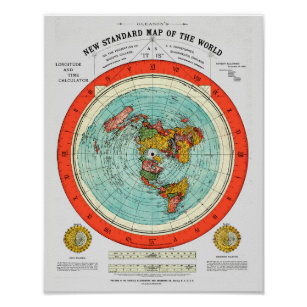 New Standard Map of the World Flat Earth Earther Poster
