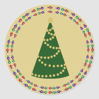 New Style Christmas Tree with Twin Rings on Gold Round Sticker