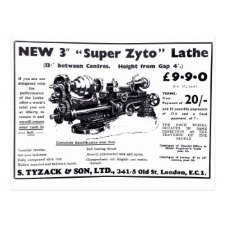 New Super Zyto Lathe Avert 1930's Postcard