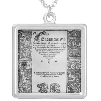 New Testament' Title Page of a French Translation Silver Plated Necklace