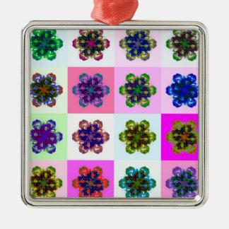 New Tulips Mandala pop Art Silver-Colored Square Decoration