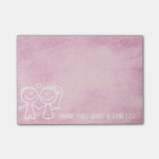 New Wedding Favor Thank You Chalkboard Pink Sweet Post-it Notes
