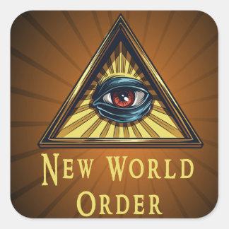 New World Order Genre Sqaure Book Cover Sticker
