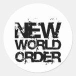 New World Order Round Stickers