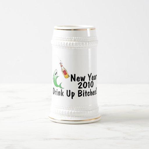 New Year 2010 Fish And Beer Coffee Mugs
