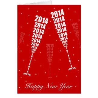 New Year 2014 Celebration - Wine Glass Toasting Greeting Card