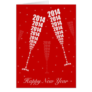 New Year 2014 Celebration - Wine Glass Toasting Greeting Card