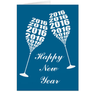 New Year 2016 Stylish Wine Glass Toasting Greeting Card
