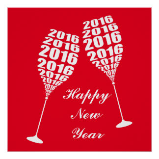 New Year 2016 Stylish Wine Glass Toasting Poster