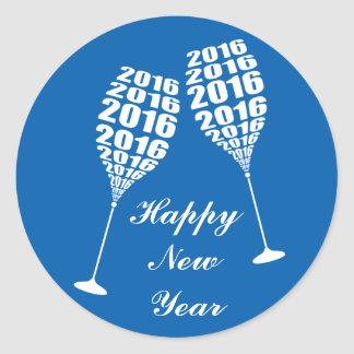 New Year 2016 Stylish Wine Glass Toasting Round Sticker