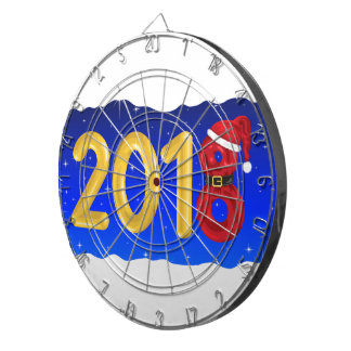 New Year 2018 Cartoon Dartboard