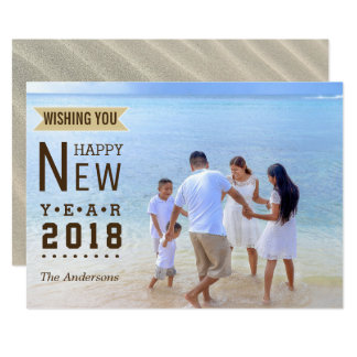 New Year 2018 Typography | Family Vacation Photo Card