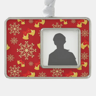 New Year and Christmas background Silver Plated Framed Ornament