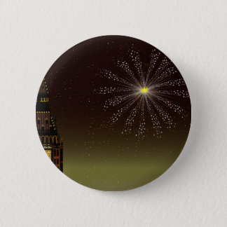 New Year And Fireworks 6 Cm Round Badge